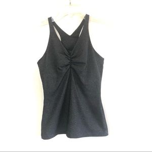 Prana gray ruched front workout tank top